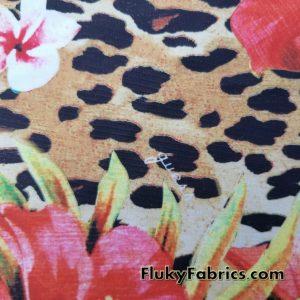 Floral Leopard Print Nylon Spandex