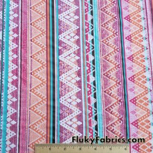 Colorful Ethnic Vertical Lines Poly Spandex
