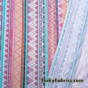 Colorful Ethnic Vertical Lines Poly Spandex  Fabric