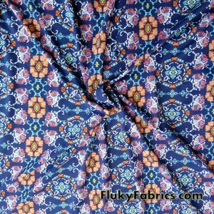 Abstract Flower Medallions on Navy Poly Spandex