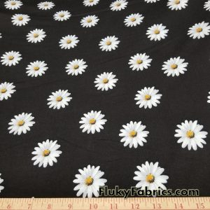 Daisies on Black Cotton Lycra