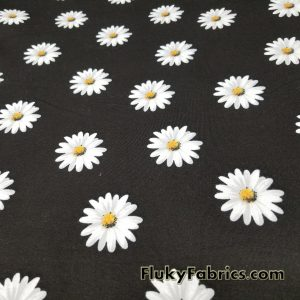 White Daisies on Black Cotton Lycra