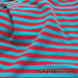 Turquoise and Red Yarn Dyed Stripe Cotton Lycra