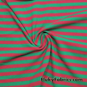 Red and Green Yarn Dyed Stripe Cotton Lycra  Fabric