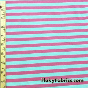 Aqua and Pink Yarn Dyed Stripe Cotton Lycra