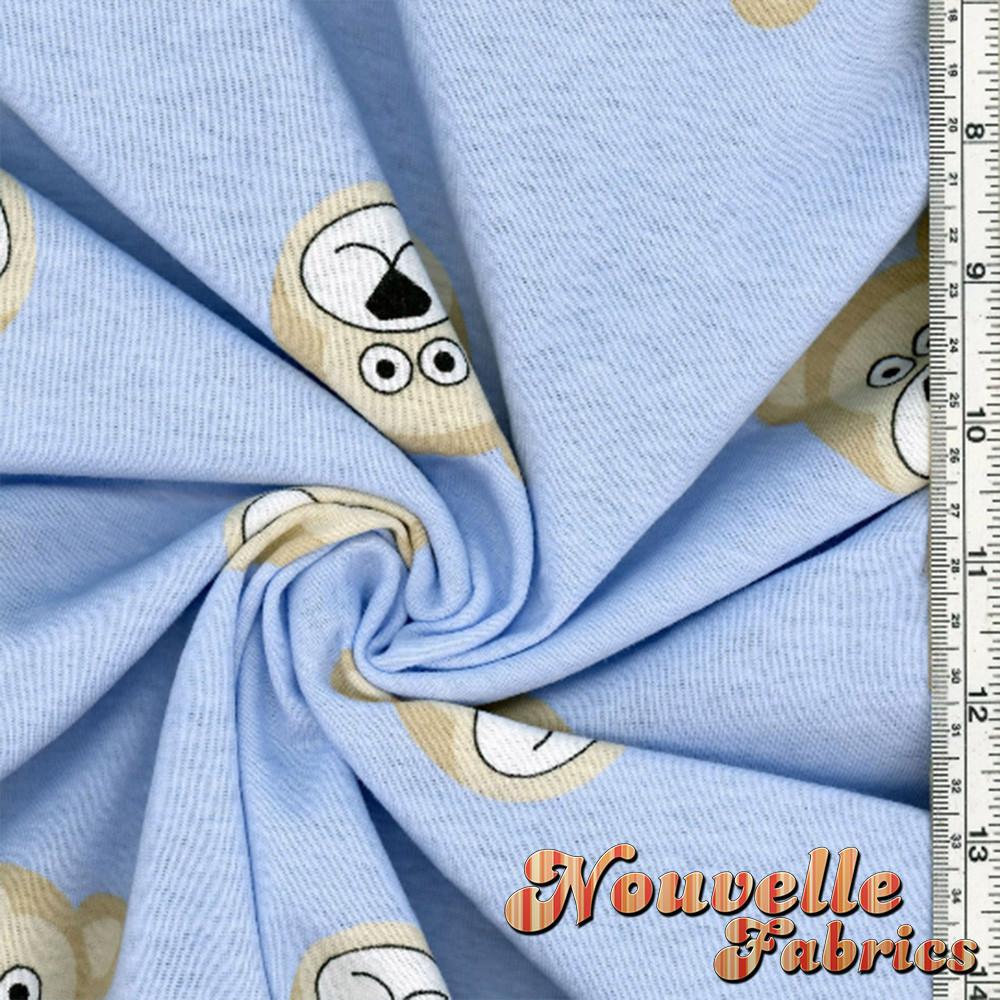 Bear Faces on Cotton Rib  Fabric