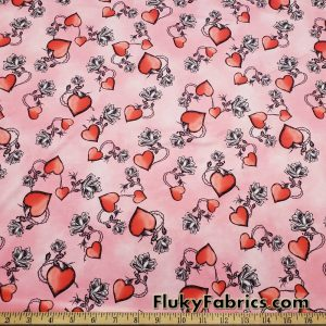 Thorny Roses and Hearts Nylon Spandex Swimwear Fabric