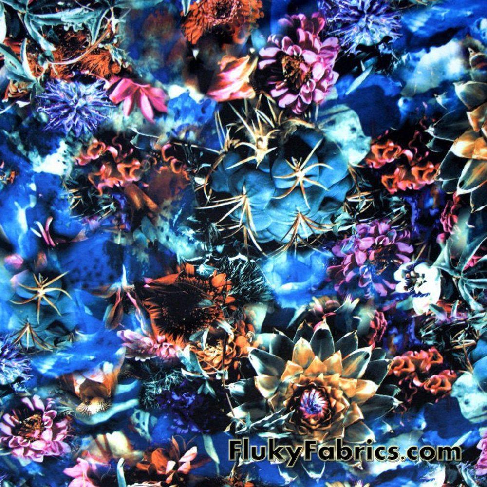Desert Flowers Nylon Spandex Print  Fabric