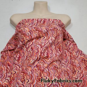 Abstract Shells on Light Pink Swimsuit Poly Spandex  Fabric
