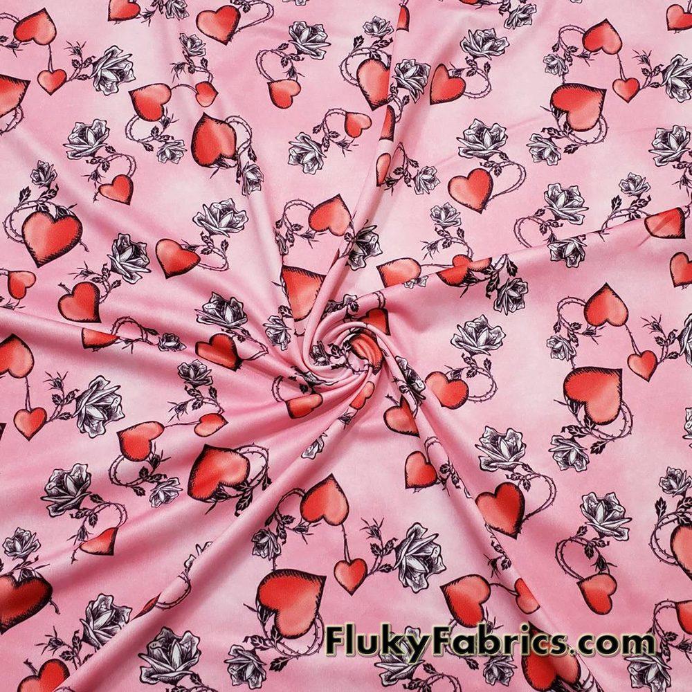 Thorny Roses and Hearts Nylon Spandex Swimwear Fabric  Fabric