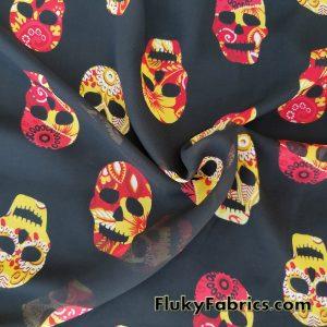 Skulls Print Chiffon  Fabric