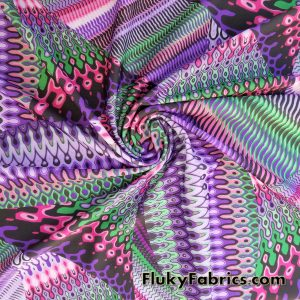 Multicolor Abstract Nylon Spandex  Fabric