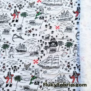 Pirates and Mermaids Print French Terry  Fabric