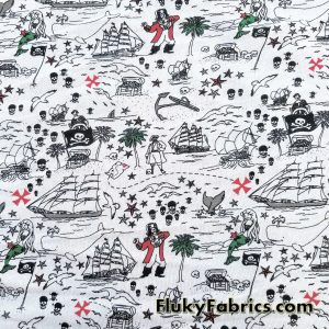 Pirates and Mermaids Print French Terry