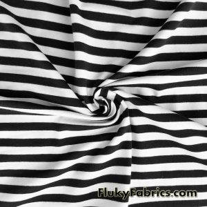 Black and White Stripe Cotton Lycra