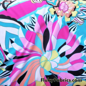 Beautiful Abstract Flowery Swimsuit Nylon Spandex