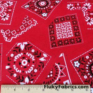 Red Bandanna Print on Cotton Rib