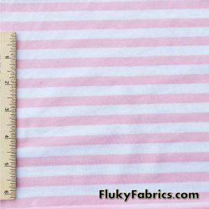 Baby Pink and White Stripe Cotton Lycra