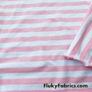 Baby Pink and White Stripe Cotton Lycra  Fabric