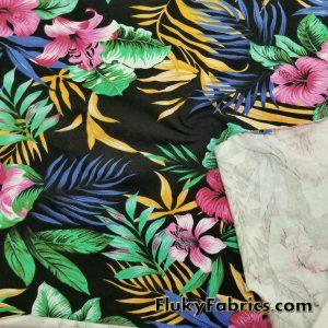 Hawaiian Print Lightweight Cotton Lycra  Fabric