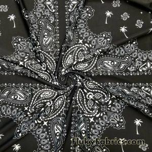 Black and White Bandana Swimwear Nylon Spandex  Fabric