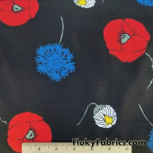 Tossed Poppies on Black Nylon Spandex Print