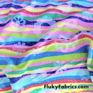 Colorful Wavy Lines and Daisies Nylon Spandex