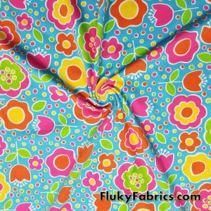 Multicolor Flowers Cotton Lycra