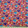 Blue and Red Hearts on Blue Cotton Jersey  Fabric