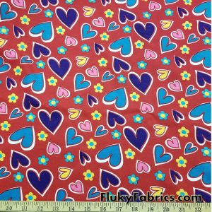 Colorful Hearts on Red Cotton Jersey