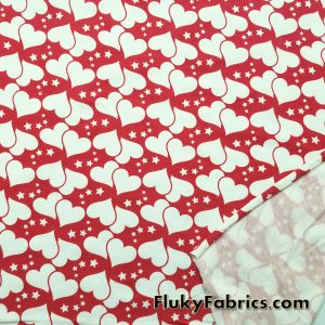 Hearts and Stars Cotton Lycra  Fabric