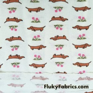Dachshund Dogs and Flowers on Light Mint Cotton Thermal  Fabric