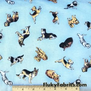 Dogs in Blue Cotton Jersey