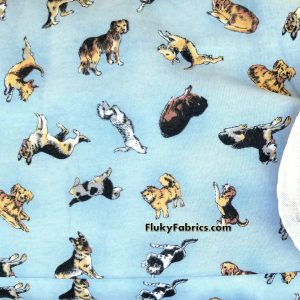 Dogs in Blue Cotton Jersey  Fabric
