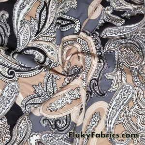 Preppy Paisleys Print Swimsuit Poly Spandex  Fabric