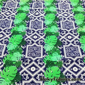 Tiles and Palm Leaves Swimsuit Nylon Spandex  Fabric