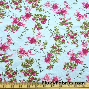 Dark Pink Flowers Cotton Jersey Print