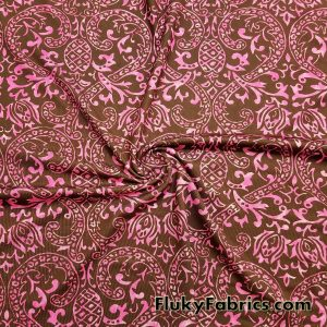 Fuschia and Brown Faded Swimsuit Poly Spandex  Fabric