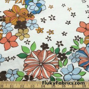 Flowers on Off White Cotton Jersey Print