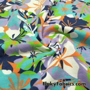 French Terry Fabric with Flowery Print  Fabric