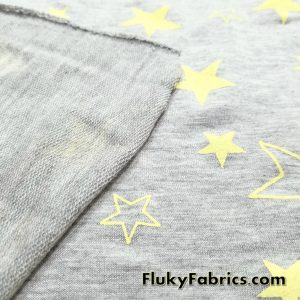 French Terry with Yellow Stars on Gray  Fabric