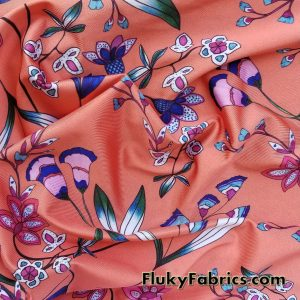 Cute Flowers on Orange Bathing Suit Nylon Spandex