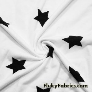White French Terry with Black Stars  Fabric
