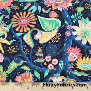 Alien Flowers Navy Swimsuit Nylon Spandex