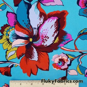 Lightweight Flowers and Vines on Turquoise Nylon Spandex
