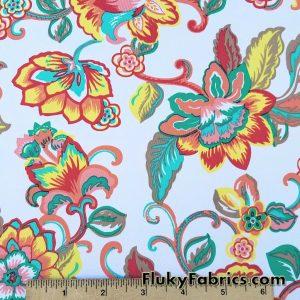 Bright Flowers on White Bathing Suit Nylon Spandex