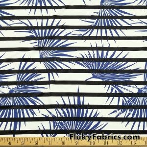 Palm Leaves and Stripes Print Swimsuit Nylon Spandex