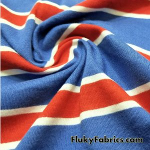Blue Red and White Cotton Jersey