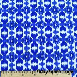 Royal Blue and White Tribal Nylon Spandex