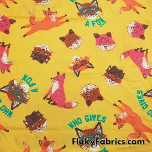 Who Gives a Fox Cotton Jersey  Fabric